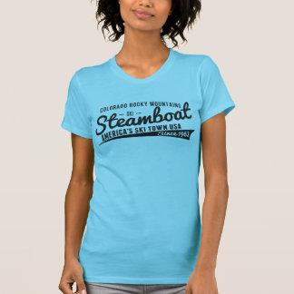 Camiseta Preto do vintage do barco a vapor
