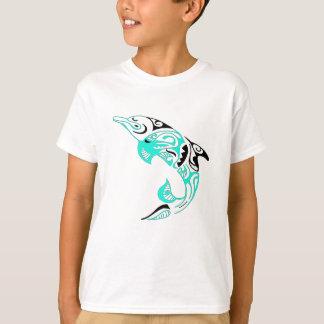 Camiseta Preto e design tribal do tatuagem do golfinho da