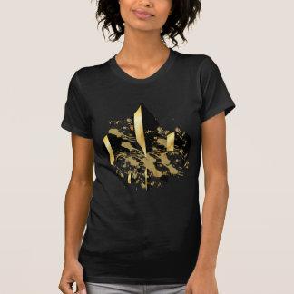 Camiseta Preto e flor de lis do ouro