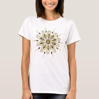 Camiseta Preto & mandala do círculo do brilho do ouro