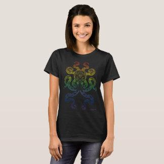 Camiseta Preto náutico do orgulho do arco-íris da arte do