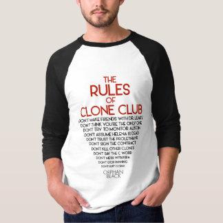 Camiseta Preto órfão | as regras de clube do clone
