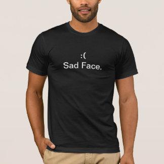 Camiseta PRETO triste NOVO do t-shirt da cara