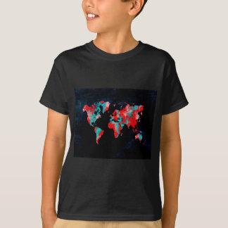 Camiseta preto vermelho do mapa do mundo