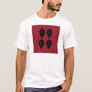 Camiseta Preto vermelho dos ornamento luxuosos