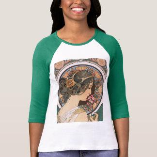 Camiseta Prímula por Mucha - arte floral Nouveau do vintage