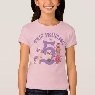 Camiseta Princesa 5o aniversário do unicórnio
