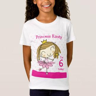 Camiseta Princesa cor-de-rosa bonito 6o aniversário da