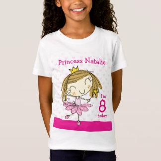 Camiseta Princesa cor-de-rosa bonito 8o aniversário da