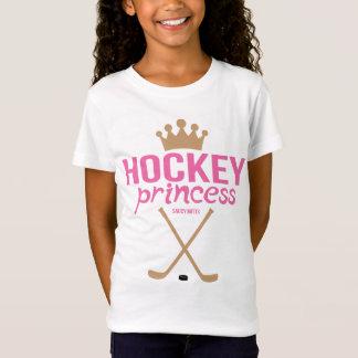 Camiseta Princesa Cor-de-rosa Vara do hóquei das meninas