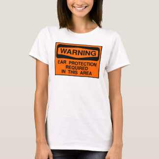Camiseta Proteção de orelha de advertência
