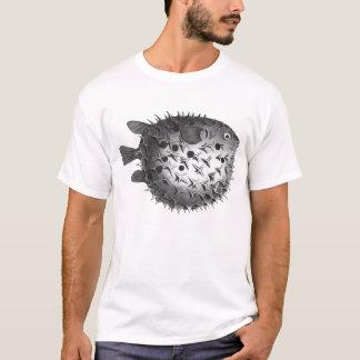 Camiseta Pufferfish retros da ilustração do vintage
