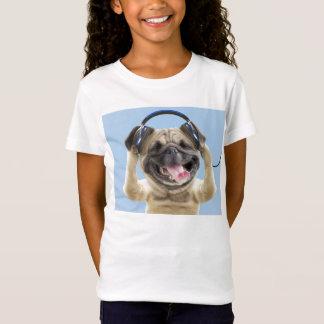Camiseta Pug com fones de ouvido, pug, animal de estimação