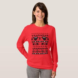 Camiseta Pug feio da camisola do Natal