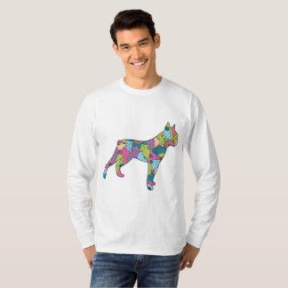 Camiseta Pugilista longo básico do t-shirt da luva dos