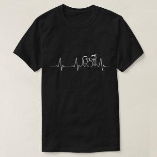 Camiseta Pulsação do coração   do baterista meus batimentos