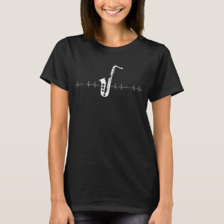 Camiseta Pulsação do coração do saxofone