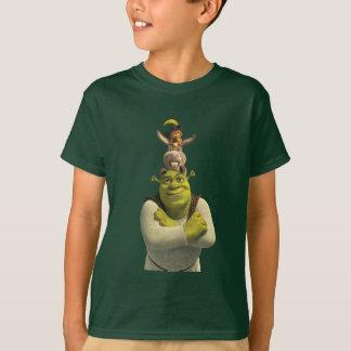 Camiseta Puss nas botas, asno, e Shrek