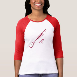 """Camiseta """"Que?"""" De t-shirt do Raglan da luva das mulheres"""