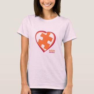 Camiseta Quebra-cabeça da consciência do autismo no coração