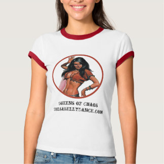Camiseta Queens da campainha do vermelho do t-shirt do caos
