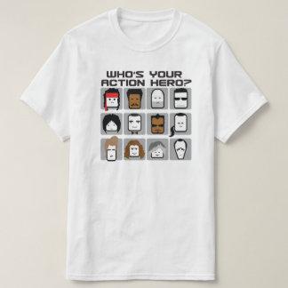 Camiseta Quem é seu herói da ação? Desenhos animados