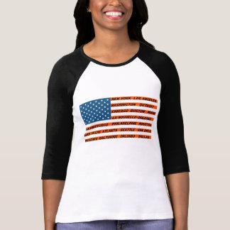 Camiseta Raglan à mangas 3/4 mulher, Bandeira EUA Cor de