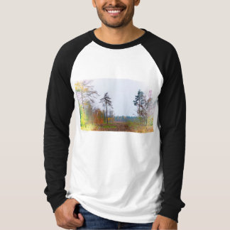 Camiseta Raglan da cena da floresta