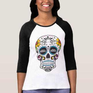 Camiseta Raglan DE MEIO EXPEDIENTE do crânio do açúcar de