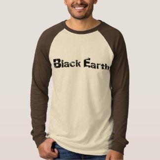 Camiseta Raglan longo básico da luva da terra preta