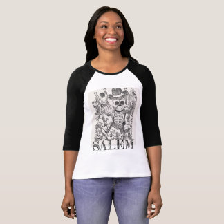 Camiseta Raglan oculto do crânio de Salem Massachusetts