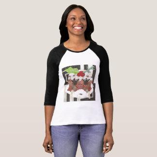 Camiseta Raglan Parte superior da Senhora Pudim Mulher