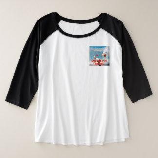 Camiseta Raglan Plus Size Agarre-os pelas mulheres de Eagle dos prazos
