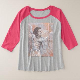 Camiseta Raglan Plus Size Arcanjo Michael mais o t-shirt do tamanho