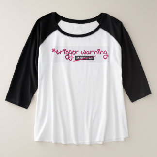 Camiseta Raglan Plus Size Aviso do disparador por Aleta