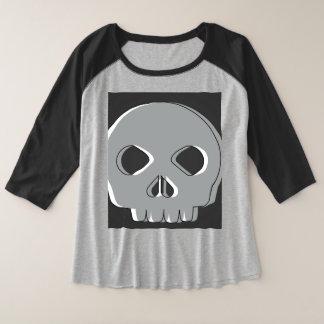 Camiseta Raglan Plus Size Blusa Plus Size Caveira