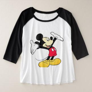 Camiseta Raglan Plus Size Blusinha do Mickey