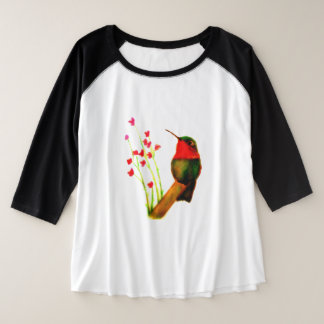 Camiseta Raglan Plus Size colibri Rubi-throated