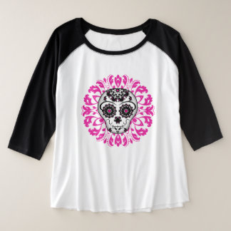 Camiseta Raglan Plus Size Crânio elegante do açúcar