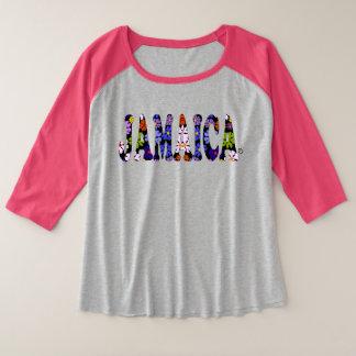 Camiseta Raglan Plus Size Mulheres das Multi-Flores de Jamaica mais t-shirt