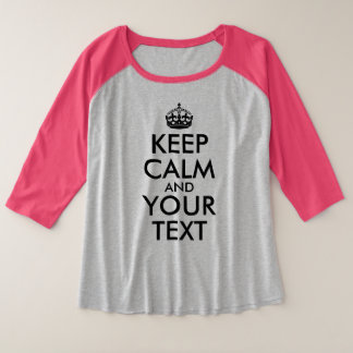 Camiseta Raglan Plus Size O preto mantem a calma e o seu texto
