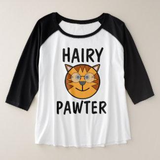 Camiseta Raglan Plus Size Pawter peludo, t-shirt engraçados do gato &