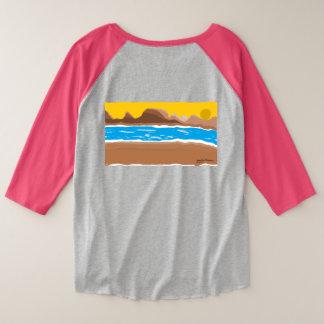 Camiseta Raglan Plus Size Rio do por do sol