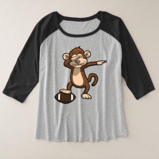 Camiseta Raglan Plus Size Solha de toque ligeiro do futebol do macaco