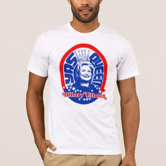 Camiseta Rainha Hillary vermelha, branca, e de Yass!