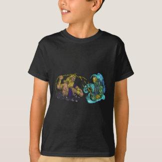 Camiseta Raio de Zeus contra o tatuagem de Poseidon Trident