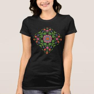Camiseta Rangoli floral chique no t-shirt das mulheres