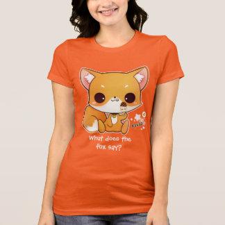 Camiseta Raposa bonito do chibi com gelado do kawaii