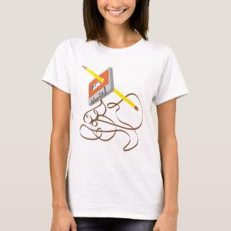 Camiseta rebobinação da cassete de banda magnética do anos