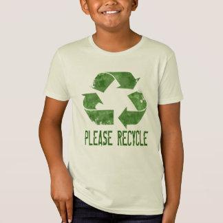 Camiseta Recicl por favor: Um TShirt orgânico dos miúdos
